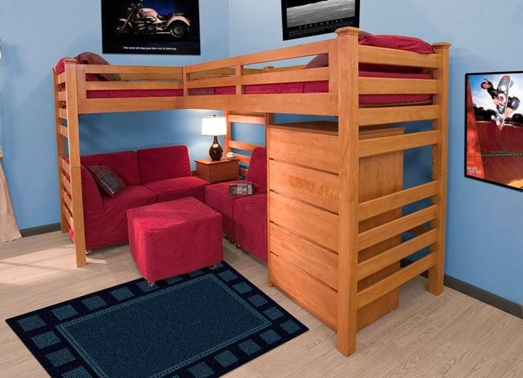 Letti a soppalco idee camerette - Bunk bed for small spaces set ...